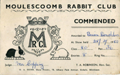 25 February 1950 Brian Donalson Commended Moulsecombe Rabbit Club