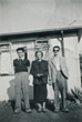 Brian with his best friend and his mum outside the prefab 8/8/1953