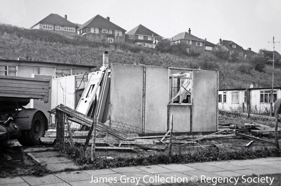 1960c Demolition of Prefabs Heath Hill Ave