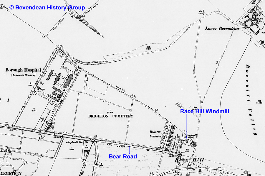 1898 Map showing position of windmill at Race Hill